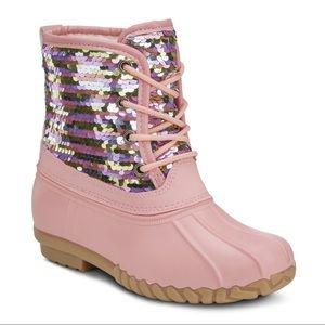NEW** GIRLS PINK SEQUIN DUCK BOOTS